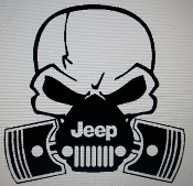 JEEP SKULL & PISTON VINYL STICKER DECAL WRANGLER TJ JK CJ JKU YJ