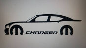 CHARGER WITH MOPAR LOGO & TEXT VINYL STICKER DECAL CHOOSE COLOR