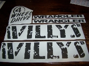 JEEP WILLYS EDITION COMPLETE MATCHING SET OF DECALS
