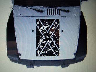 Jeep Wrangler Distressed Confederate Flag Hood Decal For