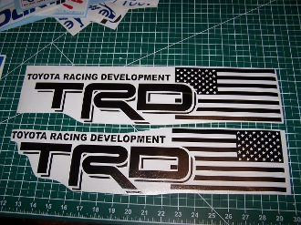 TRD AMERICAN FLAG BEDSIDE VINYL DECAL SET OF 2 TACOMA TUNDRA