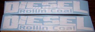 DIESEL ROLLIN COAL VINYL DECAL STICKER SET OF 2