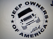 JEEP OWNERS OF AMERICA MEMBERS XK VINYL DECAL STICKER