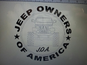 JEEP OWNERS OF AMERICA MEMBERS YJ VINYL DECAL STICKER