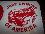 JEEP OWNERS OF AMERICA MEMBERS XJ VINYL DECAL STICKER