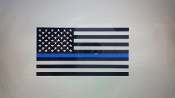 AMERICAN FLAG BLUE LINE VINYL DECAL STICKER LAW ENFORCEMENT