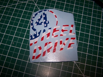JEEP WRANGLER WILLYS 4 WHEEL DRIVE AMERICAN FLAG DECAL STICKER
