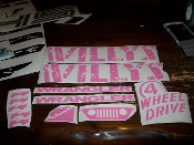 JEEP WILLYS EDITION COMPLETE SET OF DECALS WITH WHEEL LOGOS