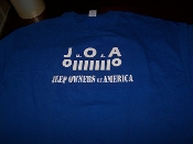 J.O.A. JEEP OWNERS OF AMERICA T-SHIRT CHOOSE SIZE & COLOR