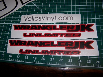 JEEP WRANGLER JK 2018 UNLIMITED FENDER VINYL DECAL SET OF 2