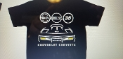 1988 CORVETTE C4 SILHOUETTE SHIRT FRONT & BACK 35th ANNIVERSARY